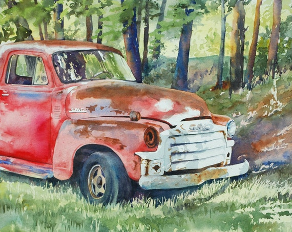 Old red GMC vintage truck watercolor art print