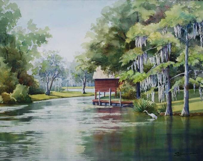 landscape painting, bayou art, boat house, watercolor art print