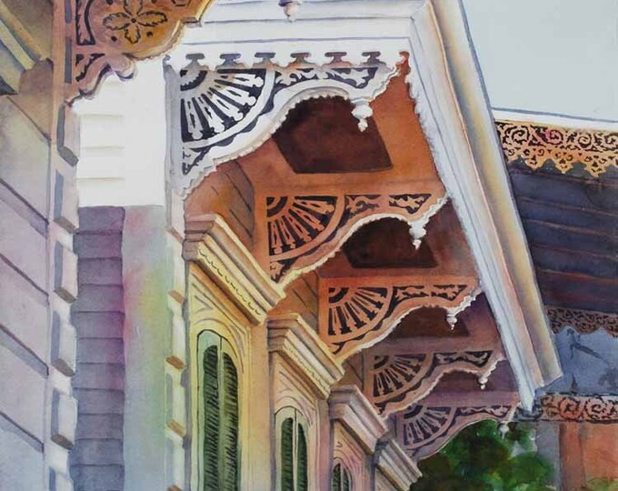 New Orleans French Quarter, Historic architecture gingerbread style watercolor art print