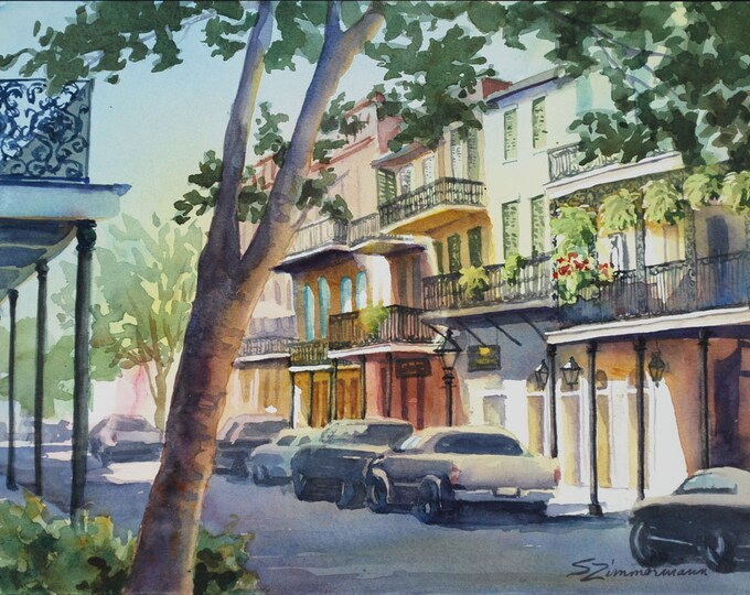 French Quarter, New Orleans, historic architecture print