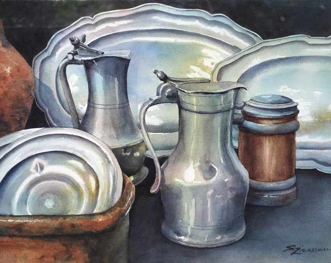 Antique pewter, still life original watercolor painting
