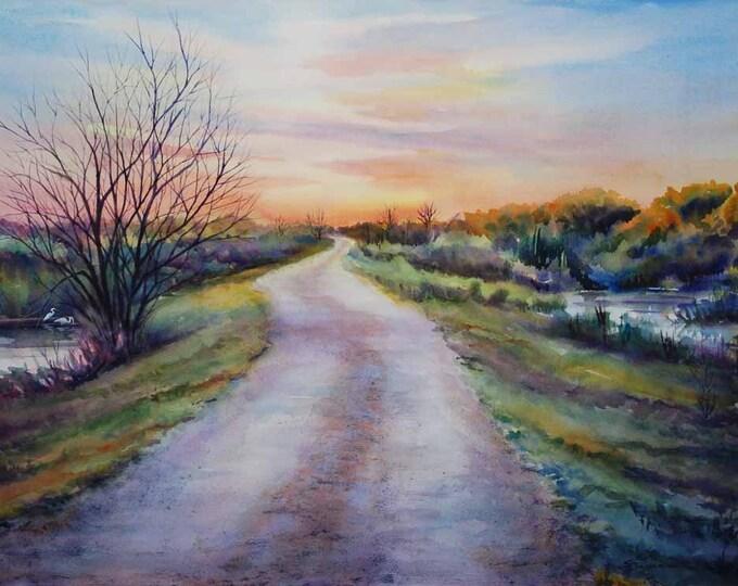 levee road, landscape painting, marsh painting, watercolor art print