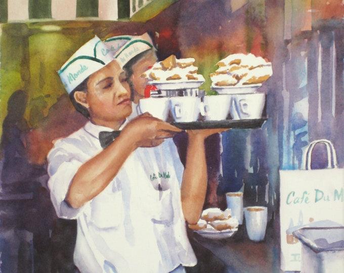 Cafe du Monde cafe au lait, beignets New Orleans French Quarter watercolor art print