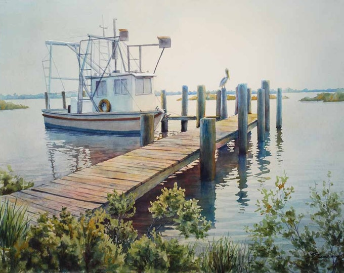 landscape art, shrimp boat wharf painting, watercolor art print
