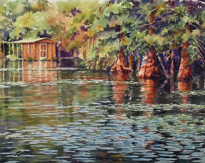 landscape art, river scene, cypress trees, houseboat, watercolor art print