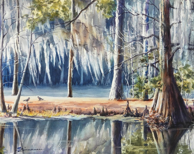 spanish moss, cypress trees, river scene watercolor print