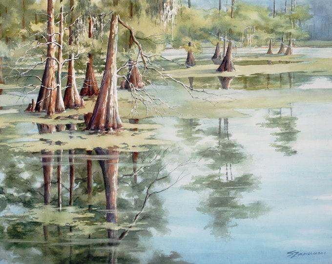 Cypress Lake, original watercolor painting