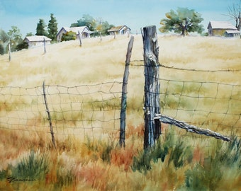 Field of Gold, original watercolor painting