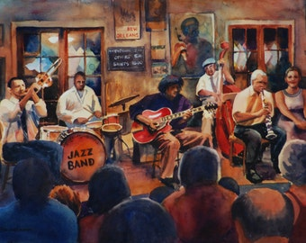 Preservation Hall Jazz Band watercolor art print, New Orleans jazz musicians