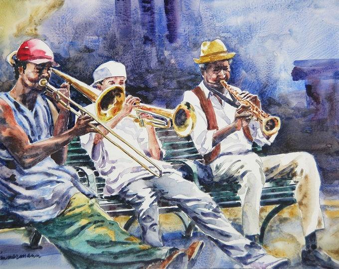 New Orleans street musicians, jazz, brass band watercolor art print