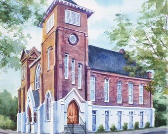 Felicity Church wedding venue, New Orleans art watercolor painting