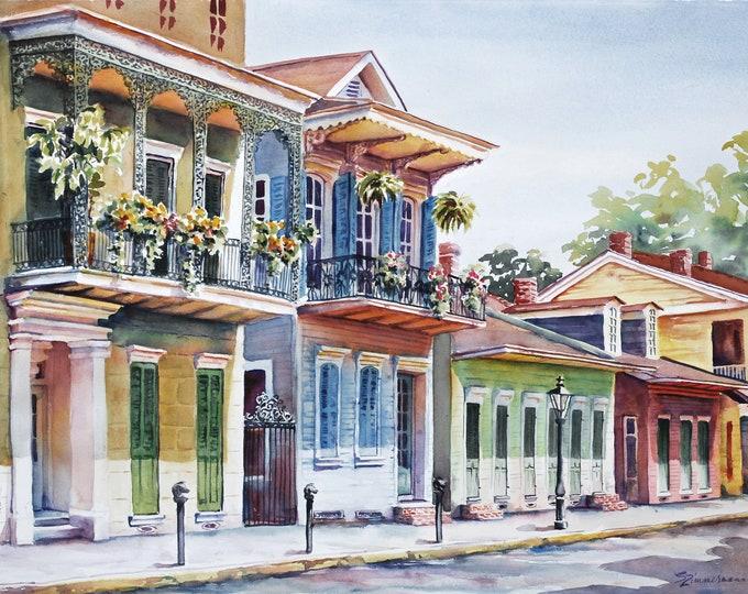 Vieux Carre, historic architecture New Orleans French Quarter watercolor art print