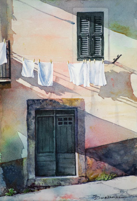 Wash day, hanging wash in the Italian town in Cinque Terre, Italy, watercolor art print