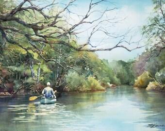 Paddling down river in a canoe, watercolor art print