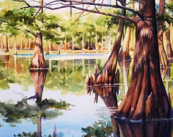 Cypress trees in Louisiana swamp, lake, print of watercolor painting