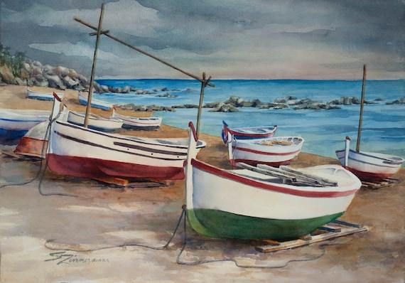 Beach marina, original watercolor painting