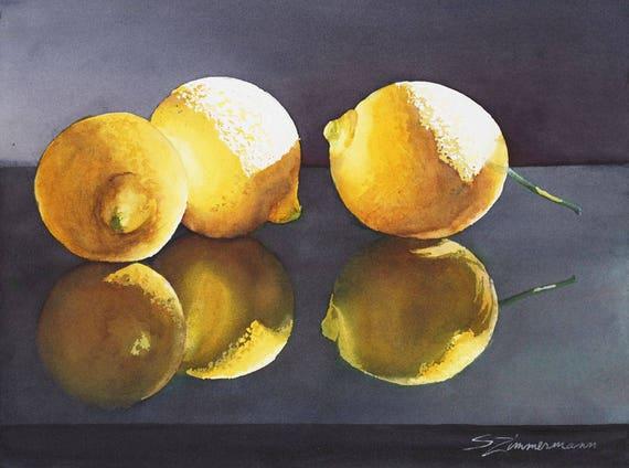 lemons, fruit, still life, watercolor art print