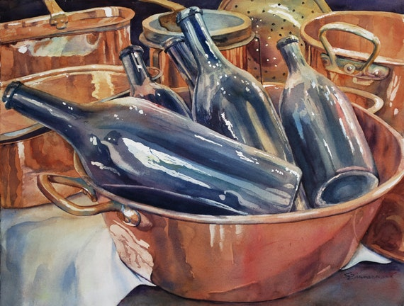 Copper pots with wine bottles, still life watercolor print