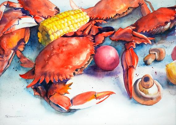 Crab boil, watercolor print