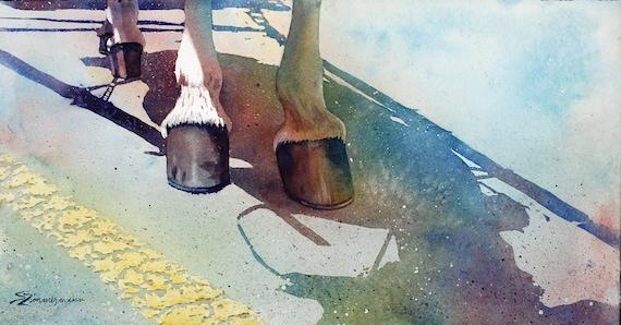 Shoe Hits the Pavement, original watercolor painting