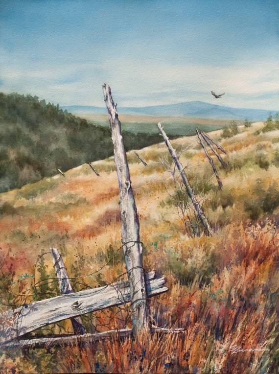Mountain fields where eagles fly original watercolor painting