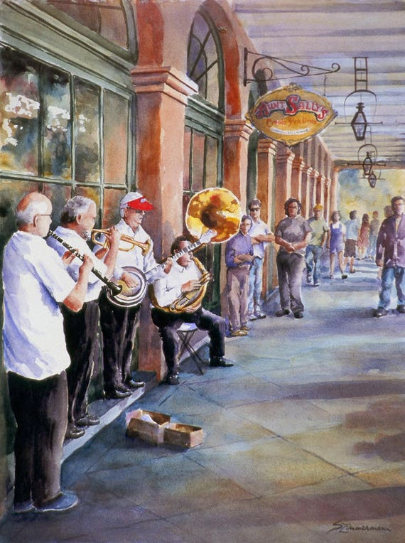 New Orleans French Quarter dixieland jazz band watercolor print