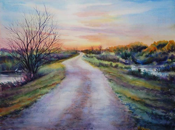 levee road, landscape painting, marsh painting, watercolor art print