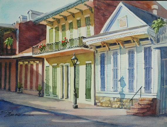 French Quarter, New Orleans, architecture, Creole cottage watercolor art print