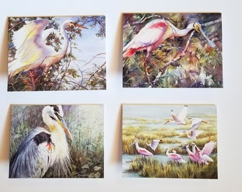 Notecards of marsh birds, Egret, Blue Heron, Roseate Spoonbill