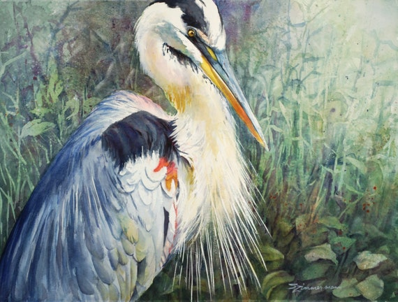 Great Blue Heron, marsh bird, watercolor print