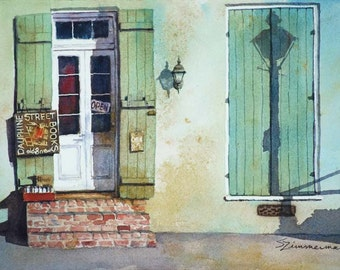 New Orleans French Quarter historic architecture, book store, watercolor art print