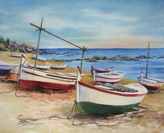 fishing boats, moored on a beach original watercolor painting