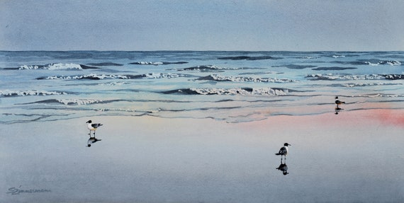 Ebb Tide, beach watercolor print