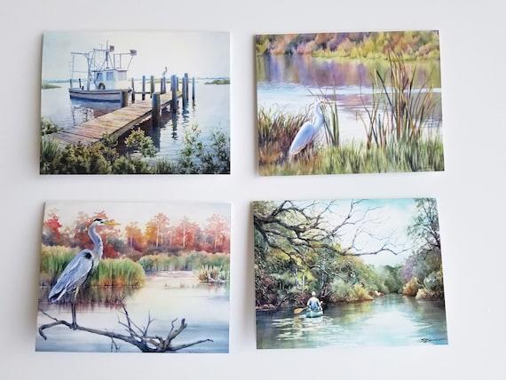 Landscape greeting cards, coastal marsh scenes