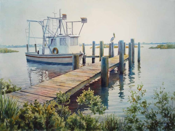 landscape art, shrimp boat wharf painting, watercolor art print