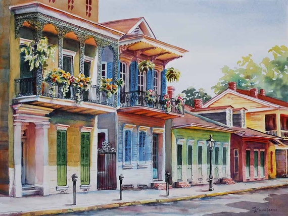Vieux Carre, historic architecture New Orleans French Quarter watercolor art print