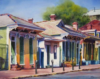 New Orleans French Quarter historic creole cottages watercolor art print