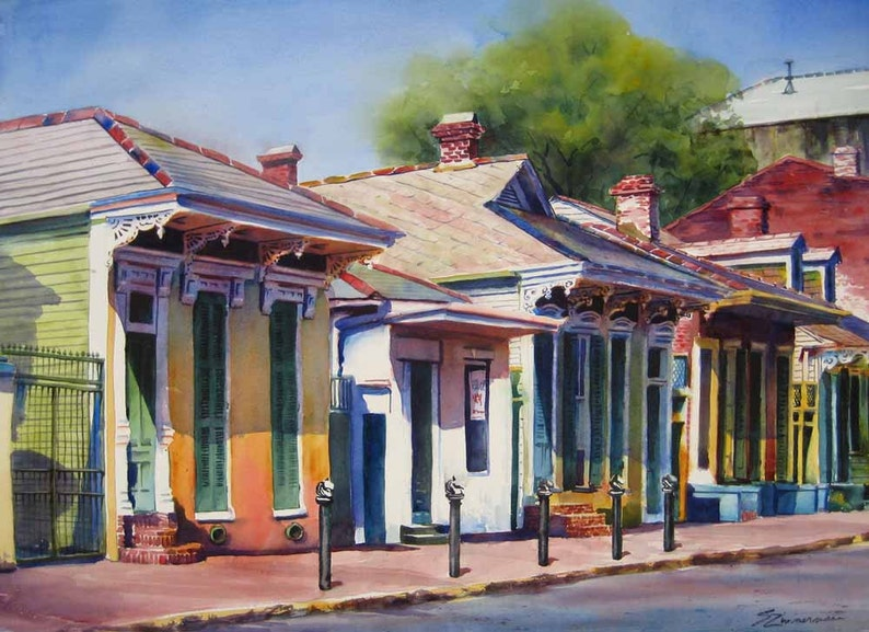 New Orleans French Quarter historic creole cottages watercolor image 0