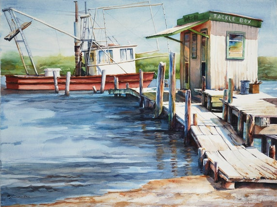 Shrimp boat, fishing dock nautical Louisiana landscape watercolor art print