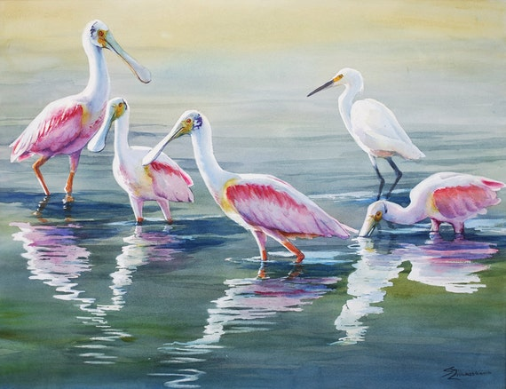 Roseate spoonbill, egret, marsh birds in water, watercolor art print