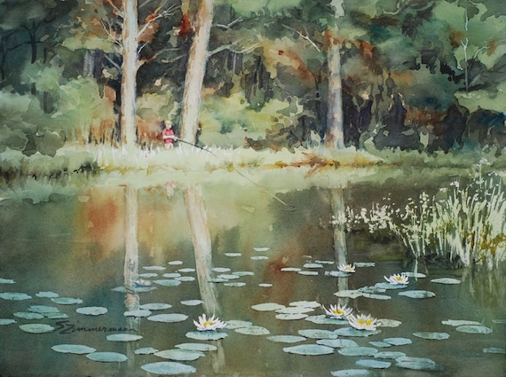Boy fishing in a pond with lilypads watercolor print