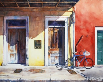 New Orleans street scene, French Quarter, bicycle
