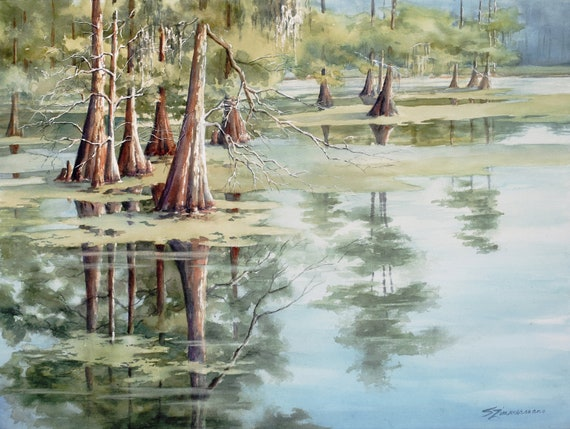 Cypress Lake, original watercolor painting