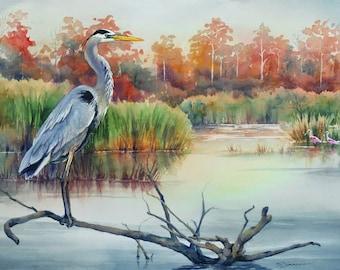 Great blue heron, Louisiana marsh bird, watercolor art print