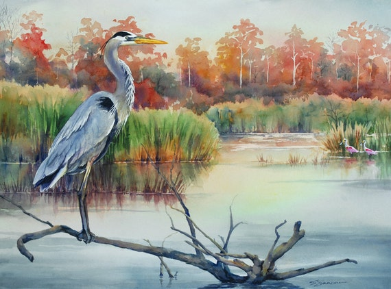 Great blue heron, Louisiana marsh bird, watercolor art print