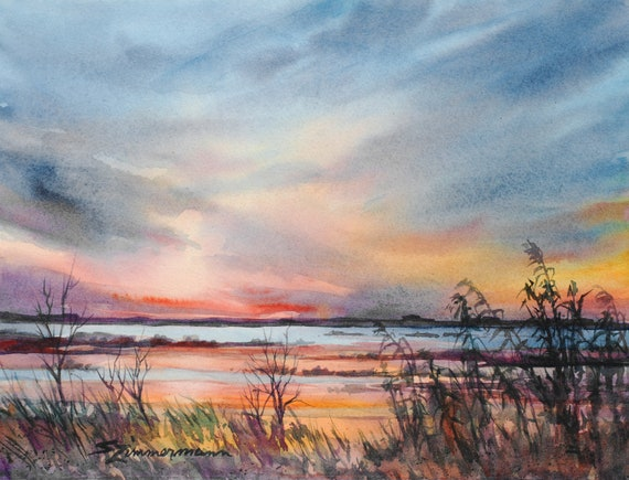 Sunset over the marsh, watercolor print