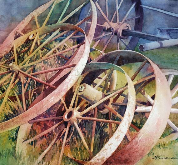 antique metal wagon wheels, vintage wheels watercolor art print