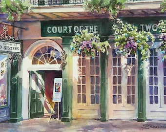 Court of Court of Two Sisters, historic architecture New Orleans French Quarter, watercolor art print