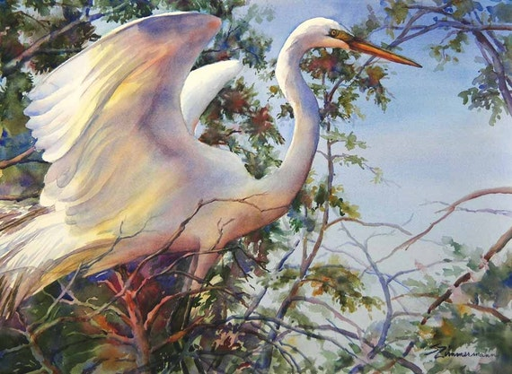 Great egret, white bird, wading bird, Louisiana watercolor art print