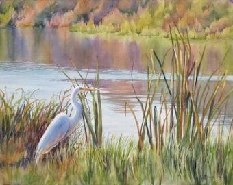 landscape art, egret in a marsh, marsh painting, watercolor art print
